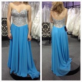 Sky Blue Strapless Sequin Bodice A-Line Beaded Chiffon Evening Dress