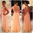 Sleeveless Floor-Length Lace Bodice Chiffon Prom Dress With Sheer Back
