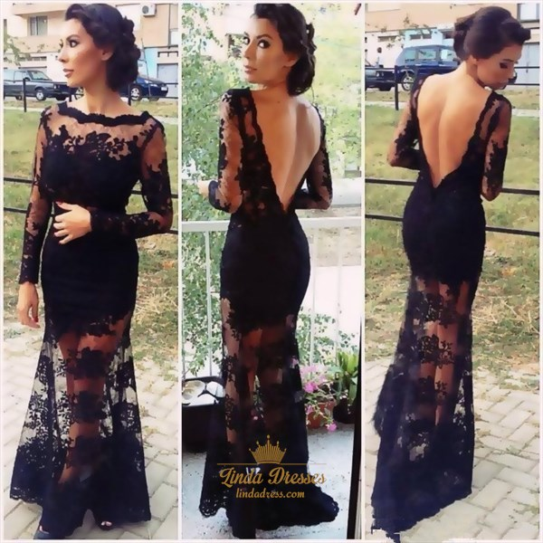 Illusion Black Long Sleeve Lace Applique Formal Gown With Open Back
