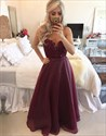 Show details for Sheer Neckline Burgundy Sleeveless Prom Gown With Beaded Lace Bodice