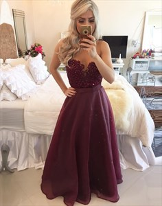 Sheer Neckline Burgundy Sleeveless Prom Gown With Beaded Lace Bodice