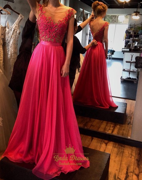 Hot Pink Illusion Cap Sleeve Floor-Length Chiffon A-Line Prom Dress