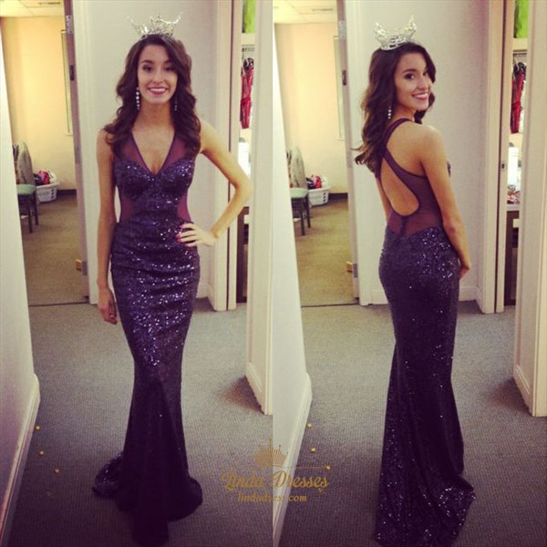 Elegant Sleeveless Sheer V-Neck Sequin Mermaid Floor-Length Prom Dress