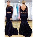 Navy Blue Two-Piece Long Sleeve Mermaid Prom Gown With Illusion Bodice