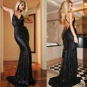 Show details for Black Sequin Spaghetti Strap Sleeveless Long Prom Dress With Open Back