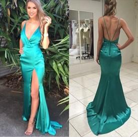 Spaghetti Strap Deep V-Neck Open Back Long Prom Dress With Side Split