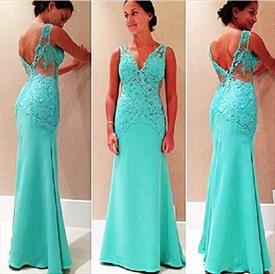 Illusion Turquoise Sleeveless Floor-Length Mermaid Chiffon Prom Dress