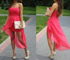 Hot Pink Strapless Sweetheart Ruched High Low Chiffon Homecoming Dress