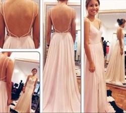 Light Pink Simple Spaghetti Strap Chiffon Prom Dress With Open Back