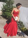 Simple Elegant Red Strapless Sweetheart Ruched Mermaid Formal Dress