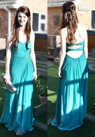 Turquoise Strapless Floor-Length A-Line Chiffon Prom Gown With Cutouts