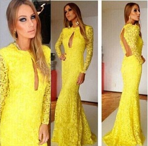 Long Sleeve Yellow Backless Lace Mermaid Prom Gown With Front Keyhole