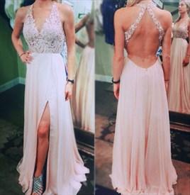A-Line V-Neck Lace Bodice Backless Chiffon Prom Dress With Side Split