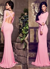 Simple Floor-Length Pink Long Sleeve Mermaid Open Back Evening Dress