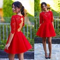 Lovely Red Half Sleeve Lace Bodice Knee Length A-Line Homecoming Dress