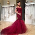 Show details for Off Shoulder Lace Bodice Drop Waist Tulle Mermaid Prom Gown With Train
