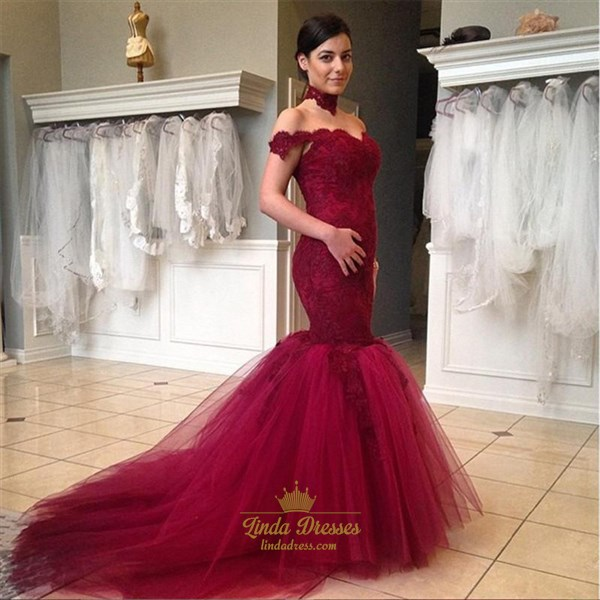 Off Shoulder Lace Bodice Drop Waist Tulle Mermaid Prom Gown With Train
