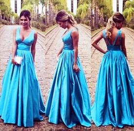 Aqua Blue Elegant Sleeveless V-Neck Empire Waist A-Line Prom Dress