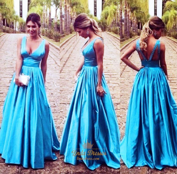 Aqua Blue Elegant Sleeveless V-Neck Empire Waist A-Line Prom Dress