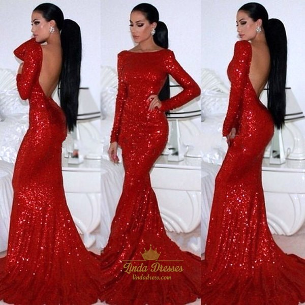 Trumpet/Mermaid Red Sequin Long Sleeve Evening Dress With Open Back
