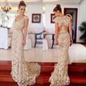 Illusion Elegant Lace Floor-Length Cap Sleeve Mermaid Evening Dress