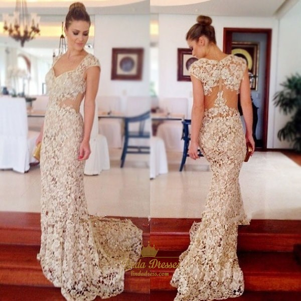 Show details for Illusion Elegant Lace Floor-Length Cap Sleeve Mermaid Evening Dress