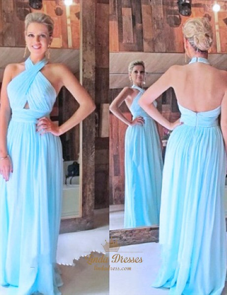 Sleeveless Halter Ruched Bodice A-Line Long Prom Dress With Open Back