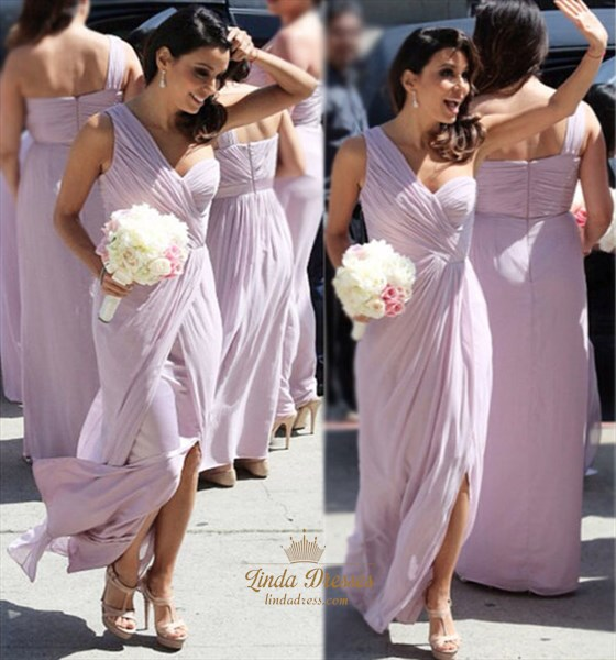 One Shoulder Ruched Bodice Chiffon Long Bridesmaid Dress With Slits