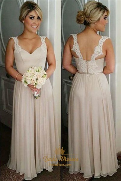 Sleeveless A-Line V-Neck Floor-Length Bridesmaid Gown With Lace Straps