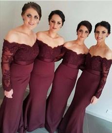 Elegant Off-The-Shoulder Long Sleeve Lace Top Mermaid Bridesmaid Dress