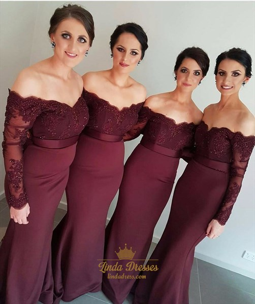 Elegant Off-The-Shoulder Long Sleeve Lace Top Mermaid Bridesmaid Dress