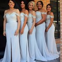 Off The Shoulder Applique Mermaid Bridesmaid Dress With Front Split