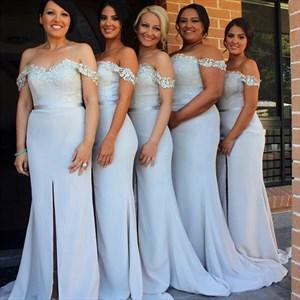 Off The Shoulder Applique Mermaid Bridesmaid Dress With Front Split