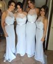 Show details for Elegant Light Blue Sheer Halter Floor-Length Mermaid Bridesmaid Dress