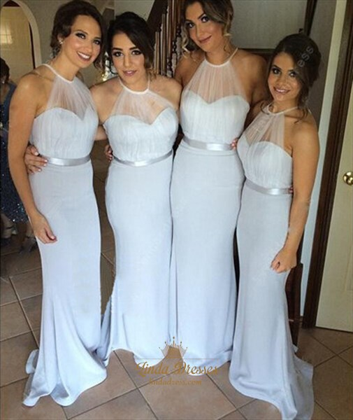 Elegant Light Blue Sheer Halter Floor-Length Mermaid Bridesmaid Dress