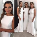 Show details for White Elegant Simple Sleeveless Long Satin Mermaid Bridesmaid Dress