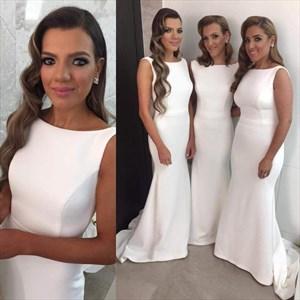 White Elegant Simple Sleeveless Long Satin Mermaid Bridesmaid Dress