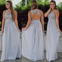 Show details for Illusion Lace Bodice Sleeveless Bridesmaid Dress With Keyhole Back