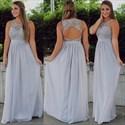 Illusion Lace Bodice Sleeveless Bridesmaid Dress With Keyhole Back