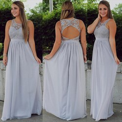 Illusion Lace Bodice Sleeveless Bridesmaid Dress With Keyhole Back