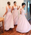 Show details for Sleeveless A-Line Chiffon Long Bridesmaid Dress With Ruched Bodice