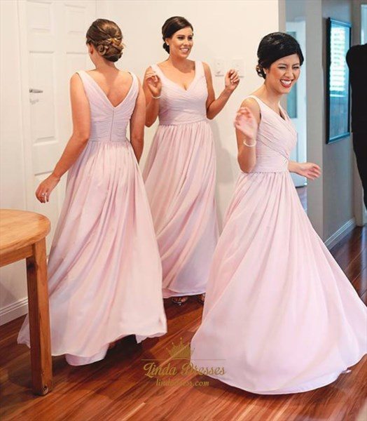 Sleeveless A-Line Chiffon Long Bridesmaid Dress With Ruched Bodice