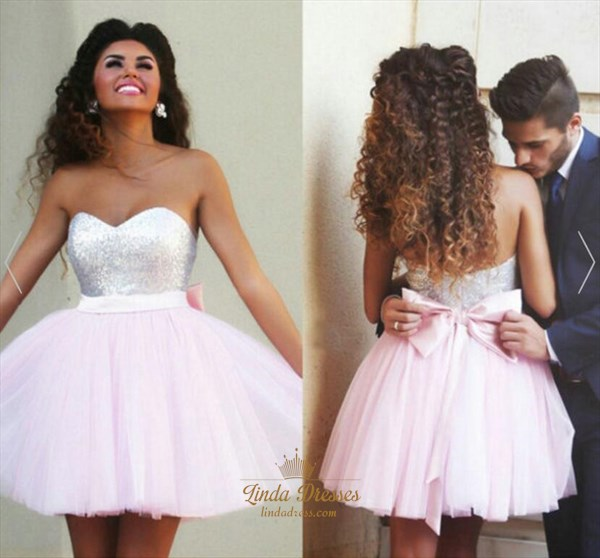 Pink Cute A-Line Short Strapless Sequin Bodice Tulle Homecoming Dress