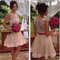 Show details for Sleeveless Illusion Lace Bodice Knee Length A-Line Bridesmaid Dress