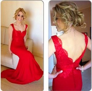 Elegant Red Cap Sleeve Lace Bodice V-Back Mermaid Long Formal Dress