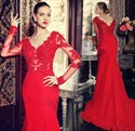 Red Long Sleeve Lace Embellished Chiffon Mermaid Prom Dress With Train