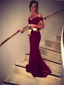 Burgundy Off-The-Shoulder Lace Bodice Floor-Length Mermaid Prom Dress