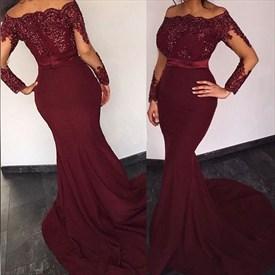 Illusion Long Sleeve Burgundy Off-The-Shoulder Mermaid Evening Dress