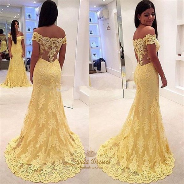 Off The Shoulder Mermaid Yellow Lace Prom Dress With Illusion Back