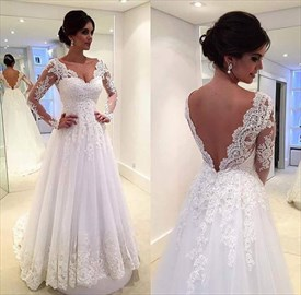 A-Line Lace Applique Backless Wedding Dress With Illusion Long Sleeves